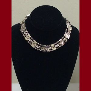 "Jewelry - Silvertone 14"" Choker Style multi strand necklace."